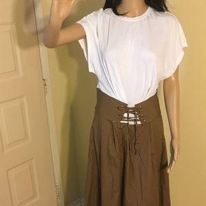 NWT Who What Wear white/otter dress w/corset belt